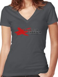 Double X Charter  Women's Fitted V-Neck T-Shirt