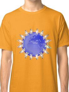 Blue Globe Surrounded by Little Cute Robots Classic T-Shirt