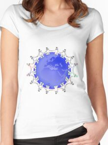 Blue Globe Surrounded by Little Cute Robots Women's Fitted Scoop T-Shirt