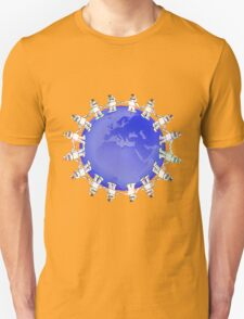 Blue Globe Surrounded by Little Cute Robots T-Shirt