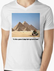 """Karl Pilkington - """"It's like a game of Jenga that's got out of hand"""" Mens V-Neck T-Shirt"""