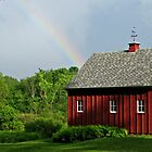 A Rainbow over a red barn by joycemlheureux