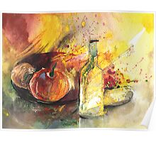 Still Life with Fruits and Flowers and Bottle Poster