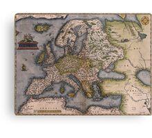Europe Map 1572 Metal Print