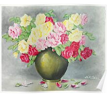 Flowers and vase oil painting Poster