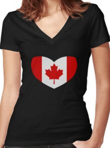 Love Canada Women's Fitted V-Neck T-Shirt