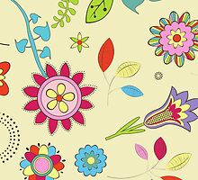 Retro Colorful Flowers Red Pink Blue Yellow by sitnica
