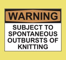 WARNING: SUBJECT TO SPONTANEOUS OUTBREAKS OF KNITTING Kids Tee