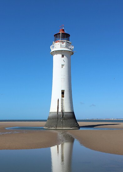 New Brighton Lighthouse Reflection in Rock Pools (see description) by AnnDixon