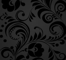 Flowers, Petals, Leaves, Swirls - Gray Black by sitnica