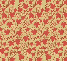 Grape Leaves (Leaf), Dots, Swirls - Red Yellow  by sitnica