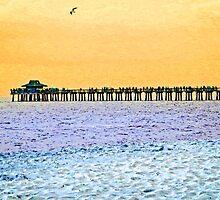 The Long Pier - Art by Sharon Cummings by Sharon Cummings