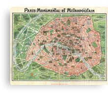 Vintage Paris Map Canvas Print
