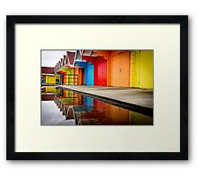 Colorful beach huts Framed Print