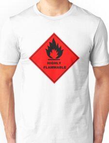 Flammable Warning Sign Unisex T-Shirt