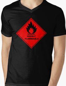 Flammable Warning Sign Mens V-Neck T-Shirt