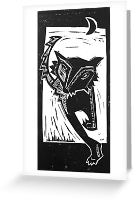 Dancing Wolf linocut by craftyhag