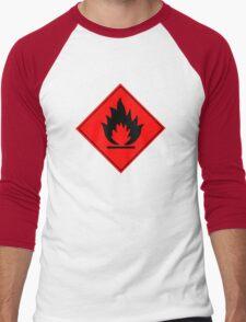 Flammable Warning Sign Men's Baseball ¾ T-Shirt