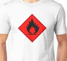 Flammable Warning Sign Unisex T-Shirt