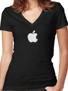 Apple Batman White Women's Fitted V-Neck T-Shirt
