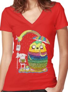 Adventure Time Rainbow Women's Fitted V-Neck T-Shirt