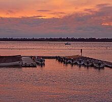 Moored Boats at sunset by Avril Harris