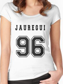 JAUREGUI - 96 // Black Text Women's Fitted Scoop T-Shirt