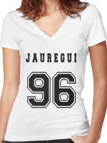JAUREGUI - 96 // Black Text Women's Fitted V-Neck T-Shirt
