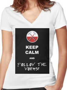 Keep calm and follow the worms 02 Women's Fitted V-Neck T-Shirt