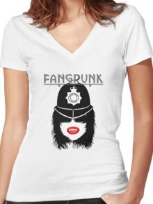 Fangpunk Police T Shirt Women's Fitted V-Neck T-Shirt