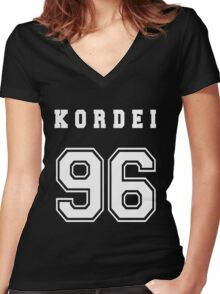 KORDEI - 96 // White Text Women's Fitted V-Neck T-Shirt