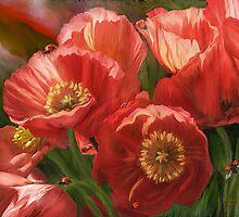 Red Ladies Of Summer by Carol  Cavalaris