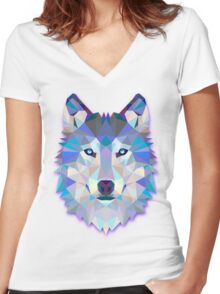 Wolf Animals Gift Women's Fitted V-Neck T-Shirt
