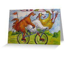 Fowl Play Series: Free Wheelin' Chicks Greeting Card
