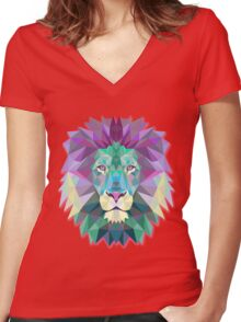 Lion Animals Gift Women's Fitted V-Neck T-Shirt