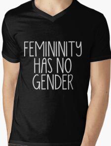 Trans Pride - Femininity Has No Gender (White Text) Mens V-Neck T-Shirt