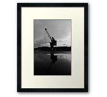 Old Crane With Reflection Framed Print