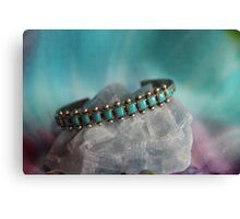 Crystals: Turquoise on Calcite Canvas Print