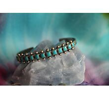 Crystals: Turquoise on Calcite Photographic Print