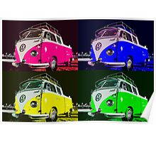 Volkswagen Camper Multi colors illustration Poster