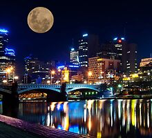 Supermoon and the City by Danielle  Miner