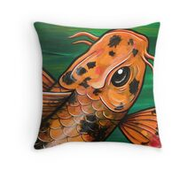 Eye Of The Crocodile Koi Throw Pillow