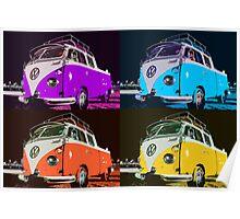 Volkswagen Camper Multi colors illustration 2 Poster