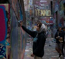 Graffiti Artist - Rutledge Lane Melbourne by Ivan Kemp
