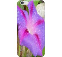 Mauve and Magenta Morning Glory with Water Drops iPhone Case/Skin