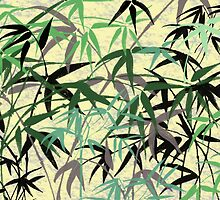 Bamboo Foliage Stalks, Leaves, Green, Gray, Yellow by sitnica