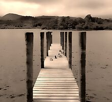 Lakeland Jetty Scene in Sepia by DavidWHughes