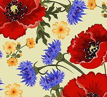 Spring Poppy Flowers Leaf Red Green Blue Yellow by sitnica