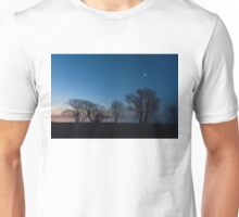 Blue Hour Moon - Bare Trees Silhouettes on the Lake Shore Unisex T-Shirt