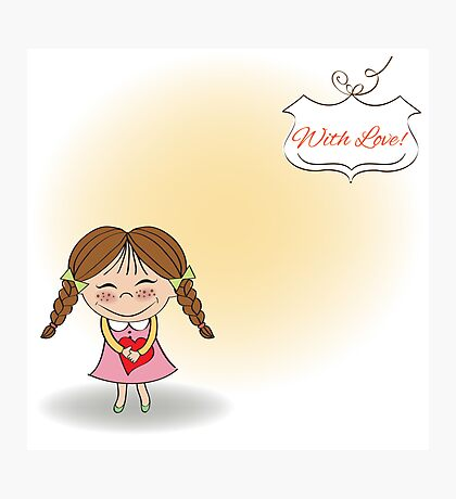 Funny girl with hearts. Doodle cartoon character. Vector Illustration. Photographic Print